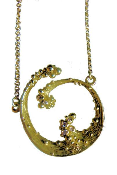 Jane A Gordon Jewelry USA New York Ocean Necklace-Small-18K gold with diamonds
