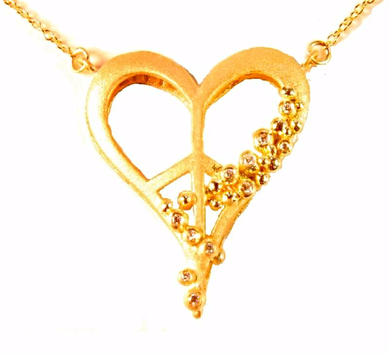 Jane A Gordon Jewelry USA New York Peace of Heart Necklace - Small - 18K gold with diamonds