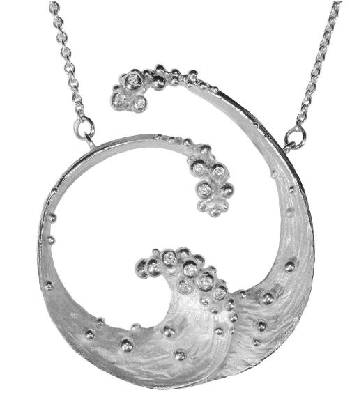 Jane A Gordon Jewelry USA New York Ocean Necklace-Large-Sterling silver with diamonds- plate options available