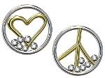 Jane A Gordon Jewelry USA New York Peace and Love earrings, 18K yellow and white gold with diamonds