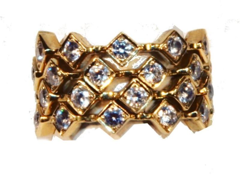 Jane A Gordon Jewelry USA New York Square stacking rings- 14k gold with diamonds