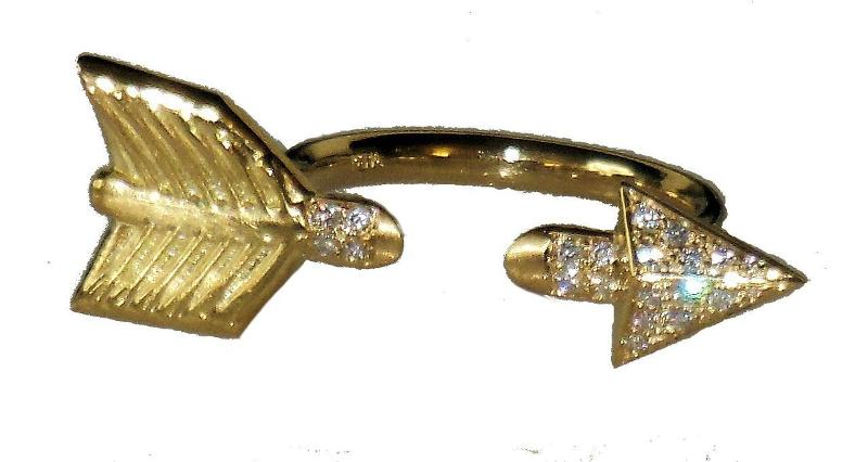 Jane A Gordon Jewelry États-Unis New York Illusion Piercing Arrow Ring-14K gold & diamonds