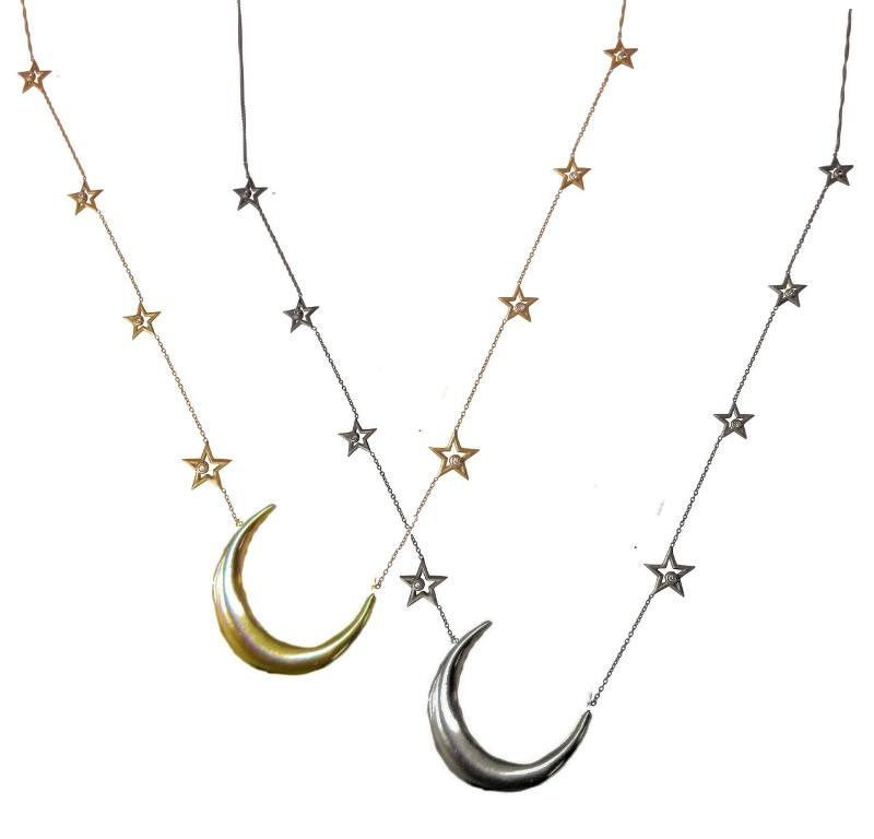 Jane A Gordon Jewelry USA New York Crescent Moon on Chain of Stars. 14K gold with Diamonds