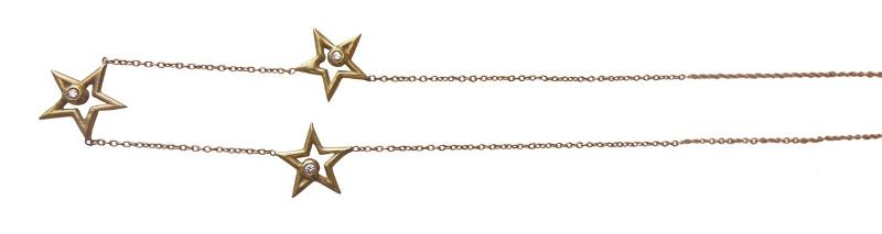Jane A Gordon Jewelry États-Unis New York Stars- Three Stars Necklace-Sterling Silver & diamonds, gold or rhodium plate