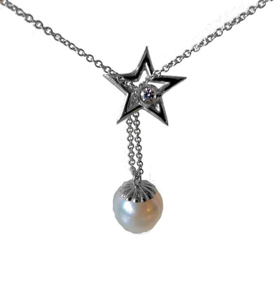 Jane A Gordon Jewelry USA New York Delicate Star, Diamond & Pearl necklace in Sterling Silver