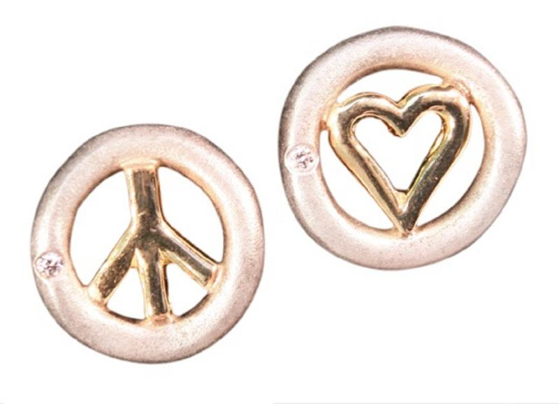 Jane A Gordon Jewelry USA New York Peace and Love earrings, Sterling & solid 18K, with tiny diamonds