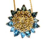 Jane A Gordon Jewelry USA New York Sunflower necklace- Blue topaz & Diamonds in 18K gold center and sterling back.