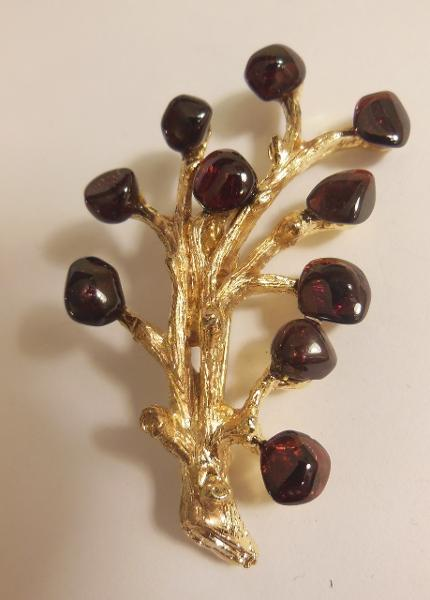 Jane A Gordon Jewelry USA New York Vintage Brooch - Tree branch with Garet Leaves