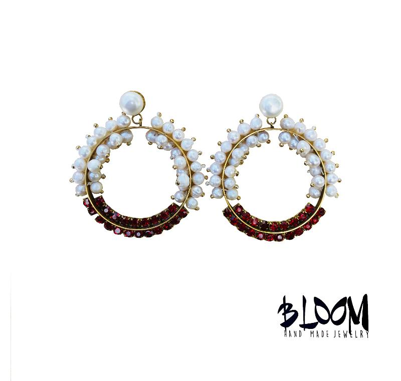 Bloom USA Florida Pendientes bordados a mano