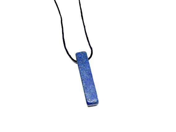 11thstreetshop USA New York Lapis Lazuli Pendant on a Natural Black Hemp Cord